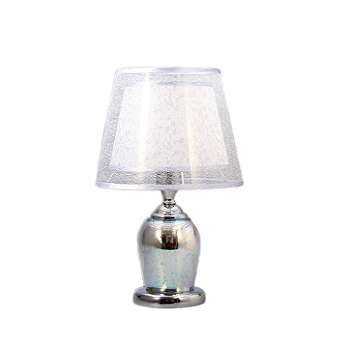 Lámpara de mesa para mesita de noche, lámpara de mesa de noche 3D fuegos artificiales con pantalla de PVC para sala de estar, oficina, cristal, lámpara de mesa de noche (color: plata)
