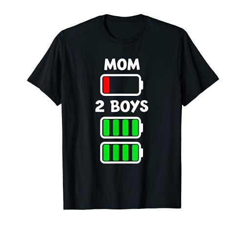 Baja batería cansada madre de dos niños de energía completa día de la madre Camiseta