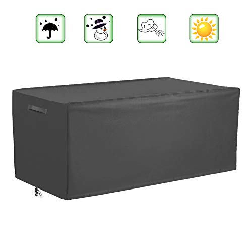 """Patio Deck Box Cover Coffee Table Cover Outdoor Cushions Box CoverWaterproof Outdoor Storge Box ProtectorRectangular Garden Furniture Cover52quotLx26""""Dx26""""HGrey"""