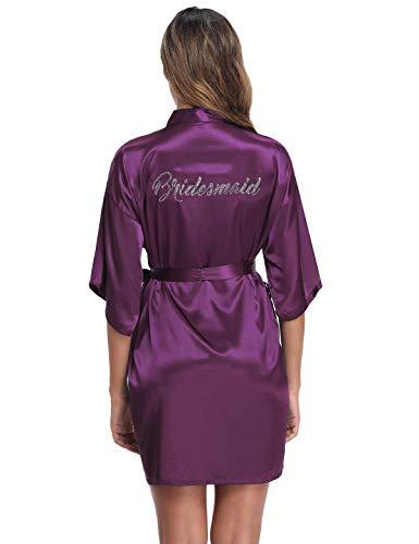 Abollria Kimono Mujer Bata para Satén Mujer Ropa de Dormir Batas (XL=EU 46, Dama de Honor Morada)