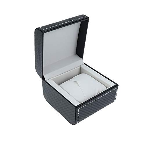 Baluue 1pc Caja de Reloj Individual Caja de joyería Caja de contenedor Cuero de PU sin Reloj para Reloj de Almacenamiento (Negro)
