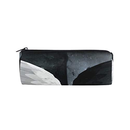 Crayon Sac Stylo Etui Pochette Mouche Blanc Noir Ange Ailes Maquillage Cosmétique Ronde pour Filles Garçons École De Voyage