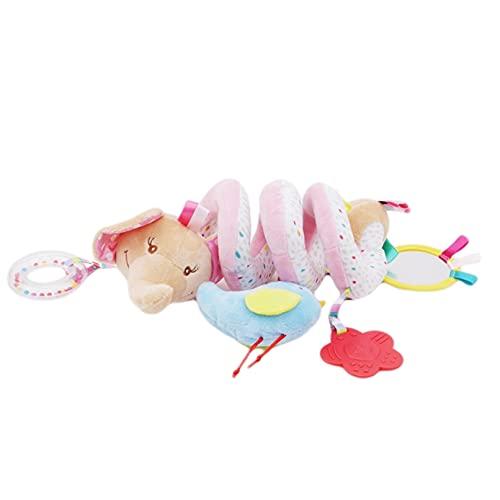 CRYUPE Mignon bébé poussette jouet spirale lit bébé suspendu éléphant âne éducation précoce en peluche (rose)