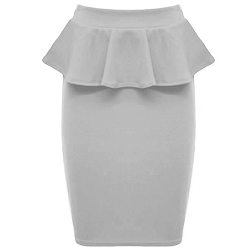 Oops Outlet Women`s Ladies Frill Bodycon Pencil Stretch Celeb Peplum Midi Skirt Plus Sizes S/M (US 4/6) Cream