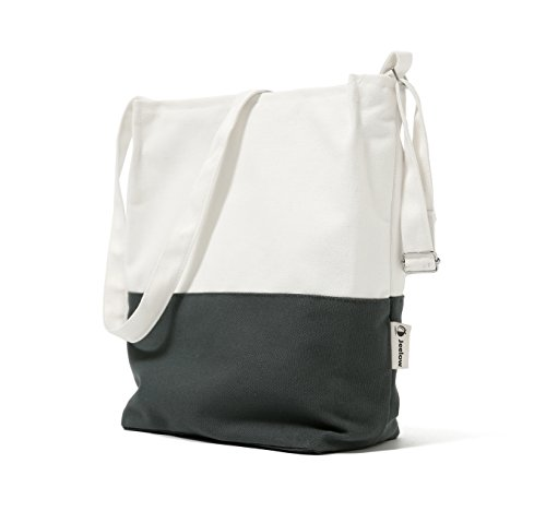 Canvas Tote Shoulder Bag Crossbody Bag Two Toned (White and Charcoal)