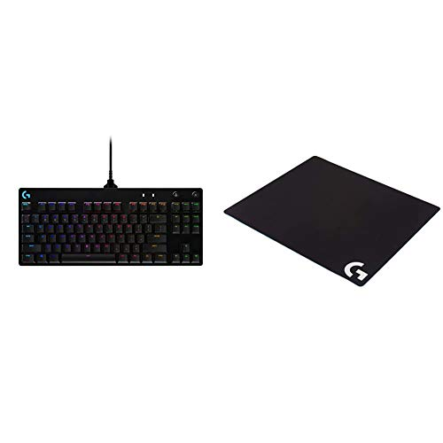 Logitech G PRO Mechanical Gaming Keyboard, Ultra Portable Tenkeyless Design, Detachable Micro USB Cable, 16.8 Million Color LIGHTSYNC RGB Backlit Keys & G640 Large Cloth Gaming Mousepad - Black