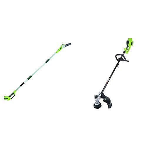 Greenworks 8' 40V Cordless Pole Saw, Battery Not Included 20302 with 14-Inch 40V Cordless String Trimmer (Attachment Capable), Battery Not Included 2100202