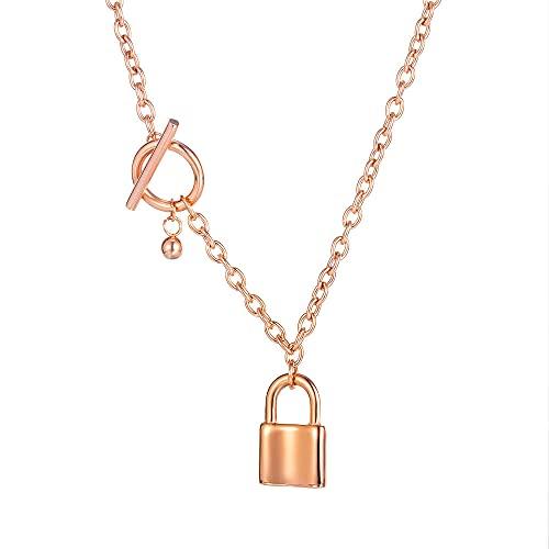 NC520 Collar de Acero de Titanio Chapado en Oro Rosa con Bloqueo de Personalidad de nicho para Mujer, Cadena de suéter, Cadena de clavícula