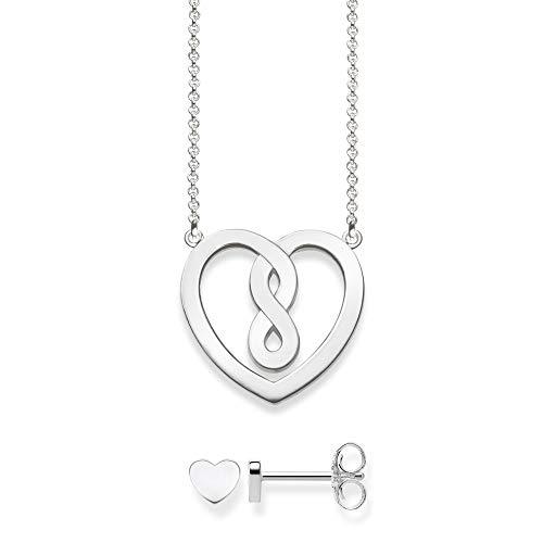 Thomas Sabo Damen-Halskette Herz mit Ohrring 925 Sterling Silber 42 cm Schmuckverpackung SET0557-001-21-L42v