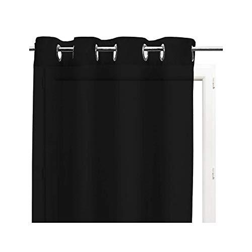 Soleil d'ocre Rideaux et Draperies, Coton, Noir, 140 x 240 cm