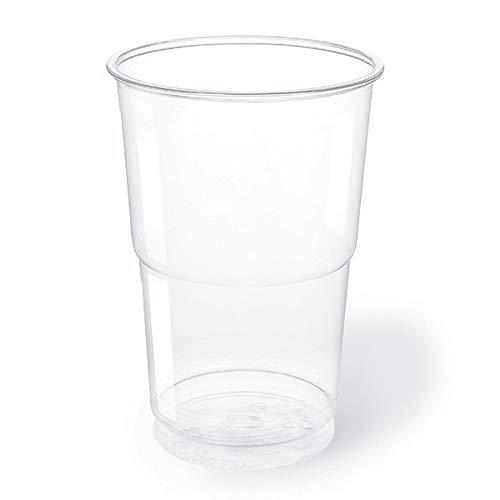 TELEVASO - 500 uds - Vaso de plástico color transparente, de polipropileno (PP) - Capacidad de 500 ml - Desechables y reciclables - Ideal para bebidas frías como agua, refresco, zumo, cerveza