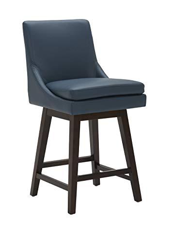 "CHITA Counter Height Swivel Barstool, Upholstered Leather Bar Stool, 26"" H Seat Height, Dark Blue"