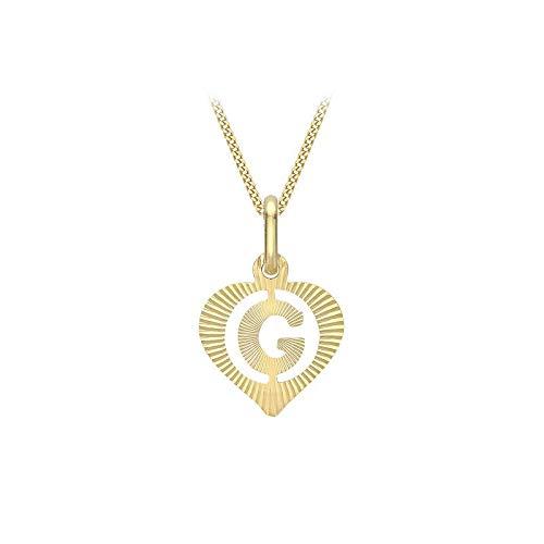 Carissima Gold Collar con Colgante Corazón con Inicial 'G' (Corte Diamante) para Mujer - Cadena Grumet en Oro Amarillo 9K (375) - 46 cm