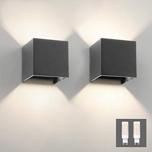 Klighten 2er Wandleuchte Aussen/Innen Modern Up Down Design, 9W Wandlampe Mit Einer Ersetzbaren G9 Birne, IP54 Wasserdichte Außenwandleuchten 4000K Natürliches Weiß, Dunkelgrau