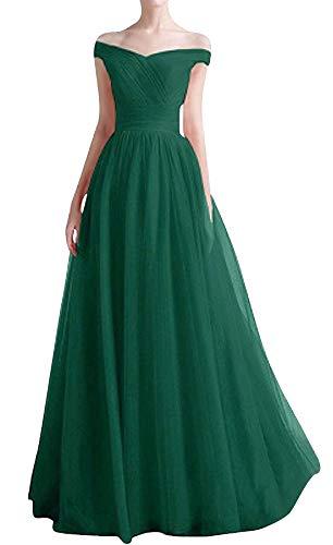 Romantic-Fashion Damen Ballkleid Abendkleid Brautkleid Lang Modell E270-E275 Rüschen Schnürung Tüll DE Grün Größe 34