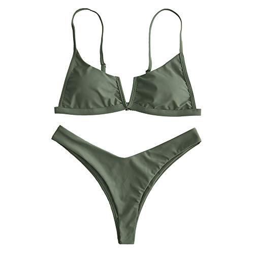 ZAFUL Bikini Donna Imbottito Sexy Costume da Bagno Due Pezzi Taglio Alto Pushup con Perizoma Bikini Donna Mare (M, Verde Militare)