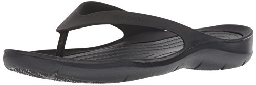 Crocs Swiftwater Flip Women, Zapatos de Playa y Piscina para Mujer, Negro Black 060, 34/35 EU