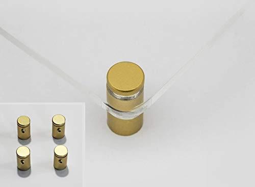 Distanziali per targhe, F Block 12mm blocco del cappuccio con granetto, kit 4 pezzi, alluminio colore gold (oro), blocca pannelli fino a sp. 10mm