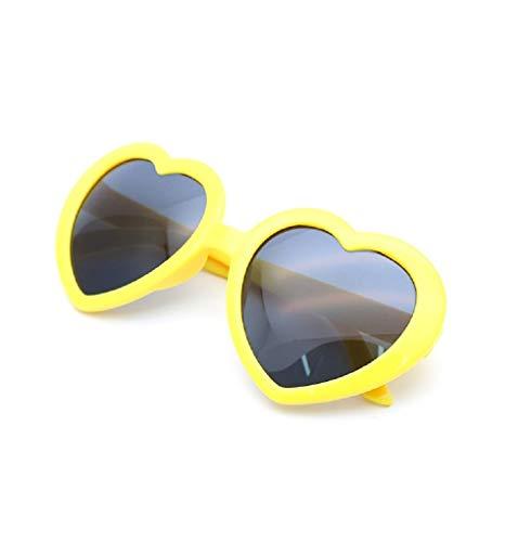 リタプロショップ? 面白サングラス UVカット ハートサングラス ハート型 眼鏡 めがね メガネ コスプレ パーティー (イエロー)