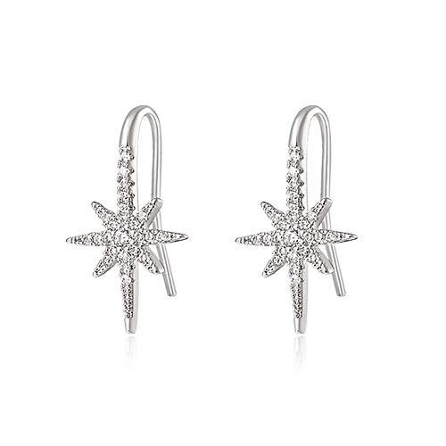 Pendientes de estrella de ocho puntas para mujeres y niñas, pendientes de zirconia cúbica sintética brillantes únicos a la moda, pendientes hipoalergénicos, regalo del día de San Valentín