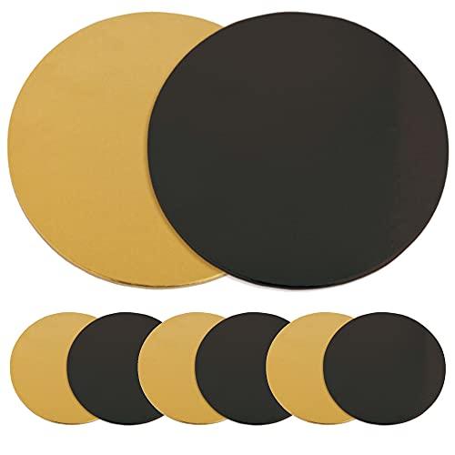 SCRAP COOKING 5201 Kit de 6 Supports à Gâteaux Ronds-Carton Réversible Doré & Noir-Disque Diamètre 24cm-Ustensile Pâtisserie Boulangerie-Fabriqués en France, Or, 24 x 24 x 0,1 cm