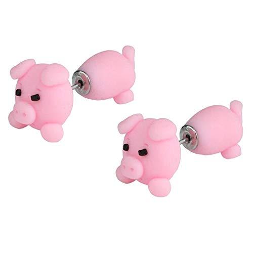 YNX MLKCL Linda Arcilla de Dibujos Animados Pendientes de Cerdo Pendientes de joyería Animal (Metal Color : Pink)