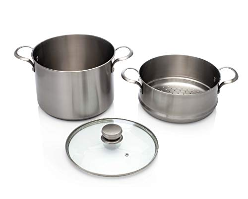Frigidaire 11FFSPAN16 Ready Cook Cookware, 8 quart Stock Pot with Steamer Insert and Lid