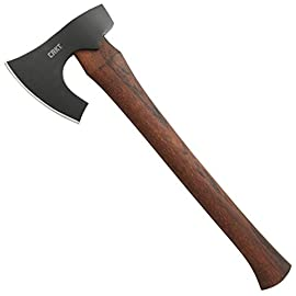 CRKT Freyr Axe: Outdoor Axe with Deep Beard Design, Forged Carbon Steel Blade, and Hickory Wooden Handle 2746 1 Forged Tough: 1055 Carbon steel provides durability and edge retention More than chop: Beard on axe head tackles many useful cutting tasks Durable: Tennessee hickory is a dense material that withstands hard use