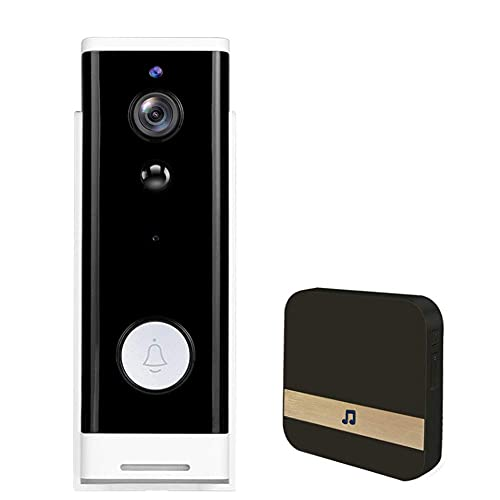 ZCZZ Timbre de vídeo inalámbrico WiFi para timbre, funciona con Alexa, vídeo HD, visión nocturna, detección de movimiento, audio de 2 vías, para iOS y Android, negro, USA V