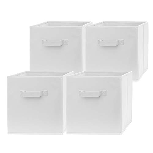 Pomatree 13x13x13 Inch Storage Cubes - 4 Pack - Large and Sturdy Storage Bins  Dual Handles Foldable  Cube Organizer Bin  Fabric Baskets for Organizing Closet Clothes and Toys White