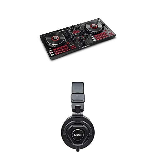 Numark Mixtrack Platinum FX + Rane RH-2 Kopfhörer – DJ-Controller für Serato DJ mit 4-Deck Kontrolle + 50mm Full-Response, High-Fidelity Over-Ear Kopfhörer mit vollständig zusammenklappbarem Design