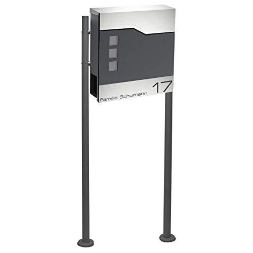 Zalafino Briefkasten incl. Standfuß freistehend in anthrazit - individualisierbarer Design-Briefkasten aus pulverbeschichtetem Stahl mit Zeitungsrolle, Briefschlitz, Sichtfeldern und Standfuß
