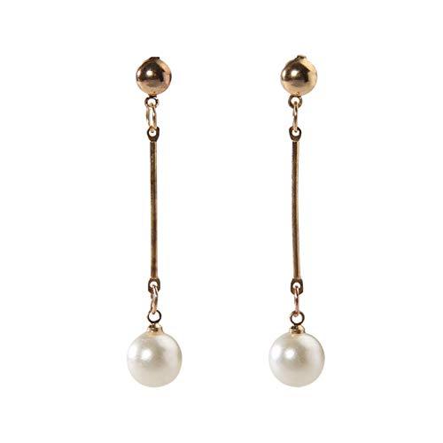 Flauli 1 par de pendientes de gancho para mujer, elegantes chapados en oro, barra larga, pendientes de perlas sintéticas, ligeros y delicados para orejas sensibles