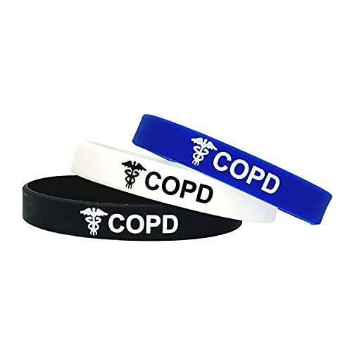 COPD Chronic obstructive pulmonary disease EPOC Enfermedad pulmonar obstructiva crónica - Juego de 3 Negro Blanco Azul Pulseras para alerta médica de emergencia para Hombre y Mujer de Butler & Grace.