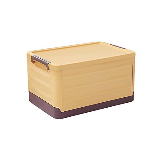 Duradera Plástico Cajas de Utilidad Plegable Multifuncional Cubos de Almacenaje Organizador para Comestibles,Cajas de Almacenamiento Plegables con Tapa,Apilable Contenedore Baúl-Amarillo 55l(21x14x11i