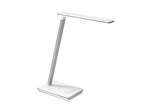 TecLines DL001W - Lampada da tavolo in alluminio, 5 Watt, 12 x 25,2 x 40 cm, colore: Bianco/Argento