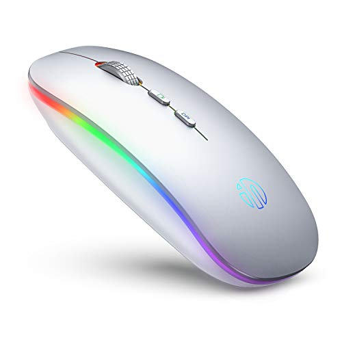 Inphic Mouse wireless LED, mouse per computer wireless silenzioso ricaricabile 2.4G con ricevitore USB, mouse senza fili RGB ultra sottile per computer, laptop, PC, Mac, argento