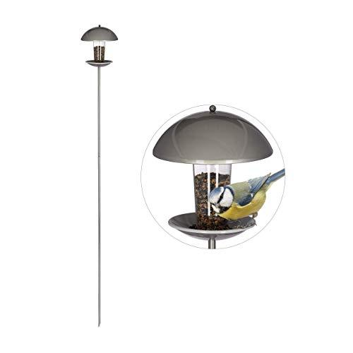 Relaxdays Vogelfutterspender, Futterhäuschen für Vögel, Aufhängen o. Stecken, Garten & Balkon, mit Stab H: 172cm, silber