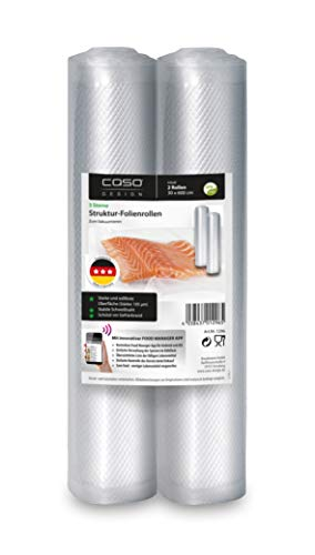 CASO 3 Sterne Strukturrollen 30x600 cm, 2 St. Folienrollen 105µm, für Vakuumierer / Folienschweißgeräte, BPA-frei, sehr stark, reißfest, kochfest, 1296