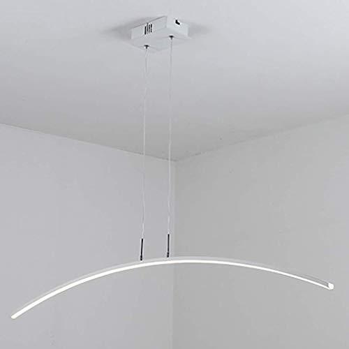LED kroonluchter, moderne lijn, hanglamp, persoonlijkheid, eenvoudige stijl, restaurant, licht, woonkamer, tafellamp, bar, lamp, wit, smal, ijzer, kunst, lamp, lichaam, creatief licht, 120 cm, 24 W Stepless Dimming