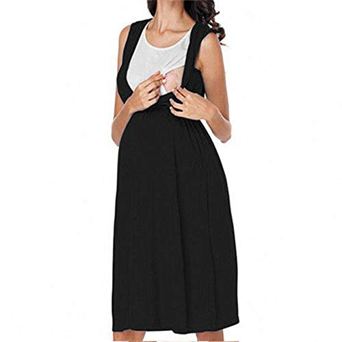Sxgyubt Zwangerschapsjurk Europese en Amerikaanse ronde hals mouwloos borstvoeding Contrast kleur zwangere jurk zwart XXL
