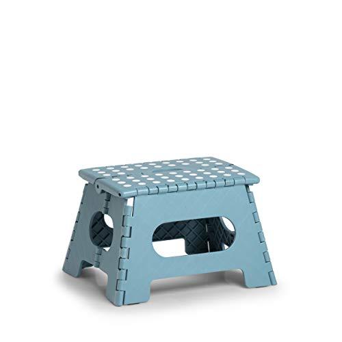 Zeller 13032 PREMIUM Klapphocker faltbar, Kunststoff, eisblau, TÜV geprüft, belastbar bis 150 kg, ca. 35 x 28 x 22 cm, klein