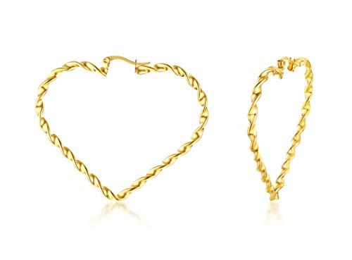 Aeici Pendientes Mujer Acero Inoxidable Forma de Corazón Torcido Pendientes Mujer Oro