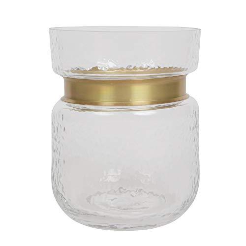 ORNAMI glazen vaas voor bloemen en huisdecoratie, brede mond ontwerp vaas met gouden rand