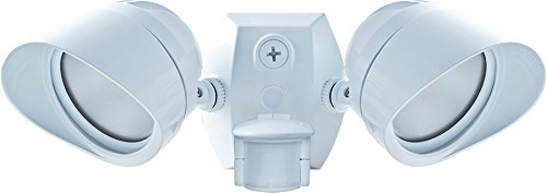 RAB Lighting SMSBULLET2X12NW Two Adjustable LED Floodlight with 180-Degree Detection Motion Sensor, White, Hardwired