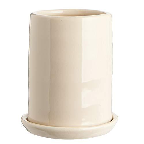 IB Laursen Keramik-Topf mit Untertasse, Blumenstrauß, Loch im Boden, cremefarben