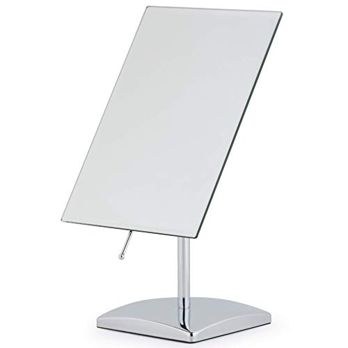 Premium Rectangular Vanity Table Mirror with Stand, Frameless Beveled Design, Non-Magnifying 9.8' x 7' Viewing Surface, Chrome Finish