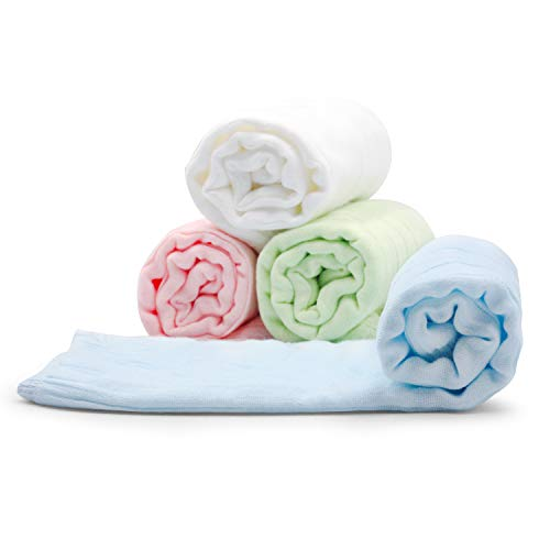 Burp Cloths Baby Muslin Cotton Burping Towels 4 Pack, 21x12, Soft Absorbent Kids Washcloths, Reusable Burp Washrags for Newborns Toddlers Boy Girl Spit-up Cleaning Cloths | Baby Shower Gift