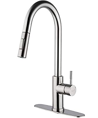 FRUD Pull Down Kitchen Faucet with Sprayer Brushed Nickel Modern Single-Handle Stainless Steel Faucets for Kitchen Sink with Deck Plate, 360 Degree Swivel Power Clean Faucet
