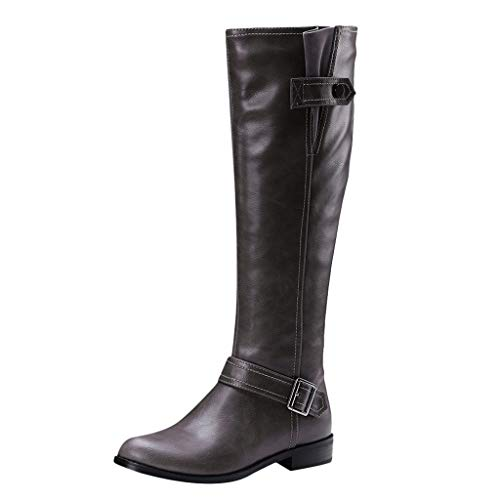 For Sale! Dainzuy Women's Calf Boots Knee High Riding Boots Belt Buckle Low Heel Motorcycle Boots Fa...